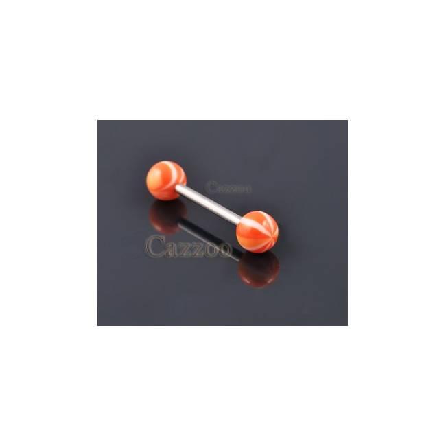 TP197 Tunge Piercing med acryl kugler