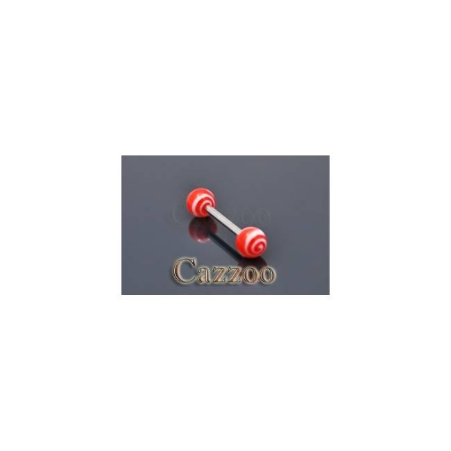 TP218 tungepiercing med acryl kugler