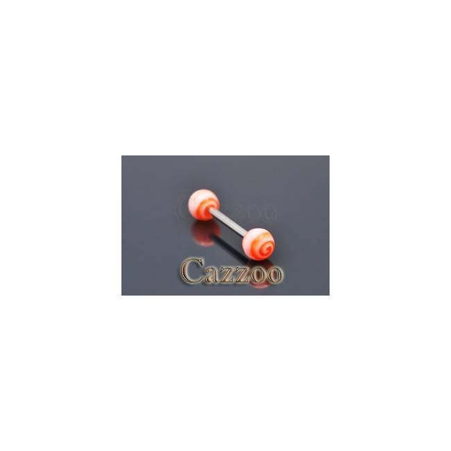 TP219 tungepiercing med acryl kugler