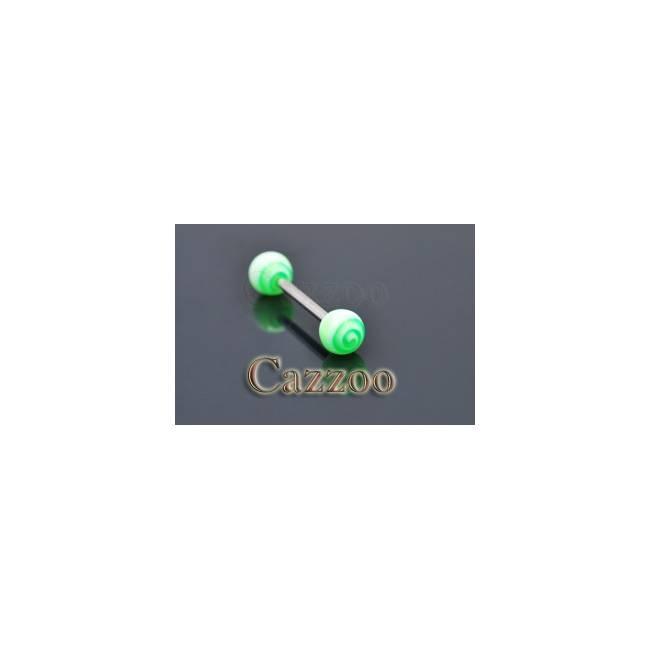 TP222 tungepiercing med acryl kugler