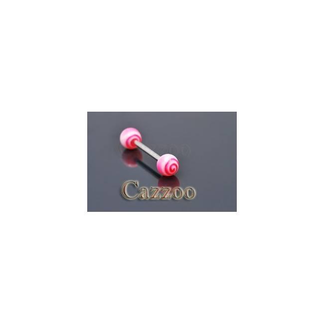 TP224 tungepiercing med acryl kugler