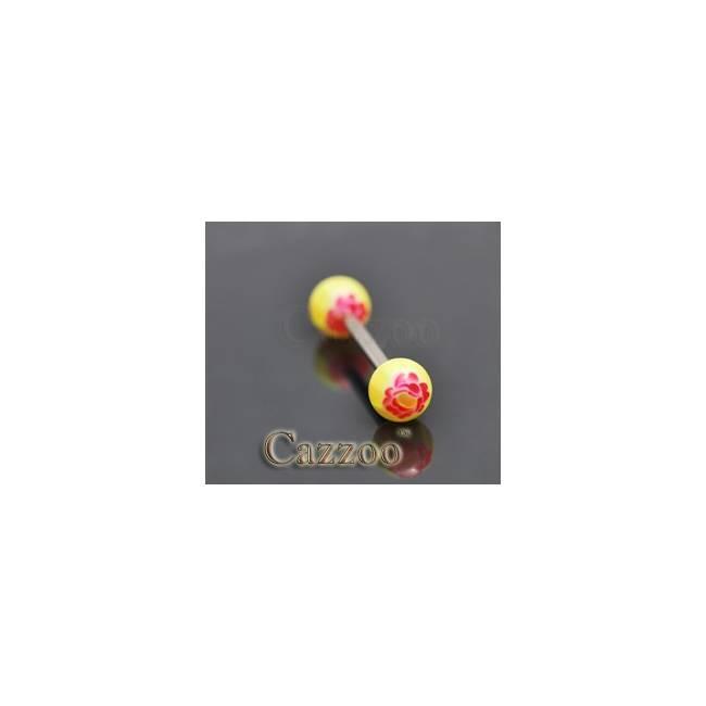 TP238 tungepiercing med acryl kugler