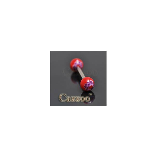TP239 tungepiercing med acryl kugler