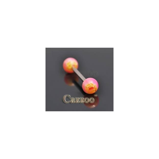 TP240 tungepiercing med acryl kugler