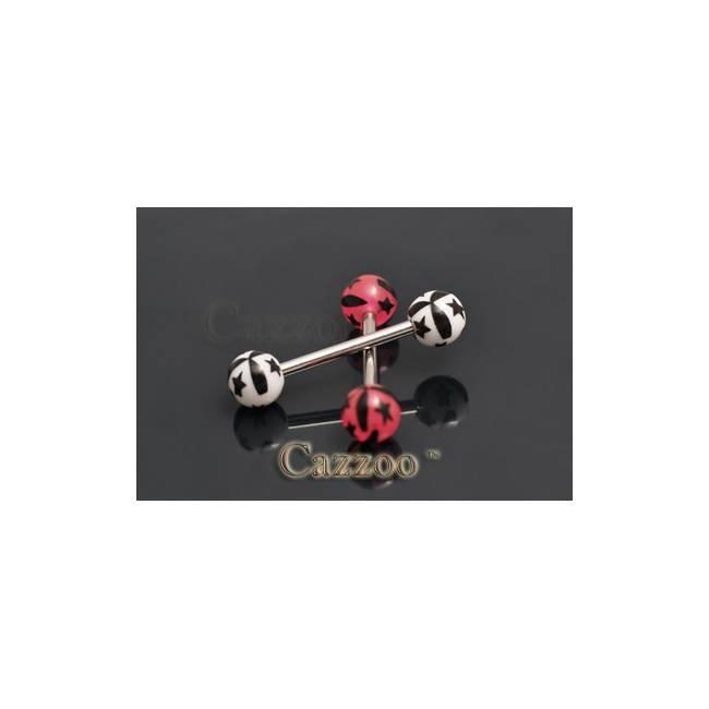 TP249 tunge piercing med acryl kugler