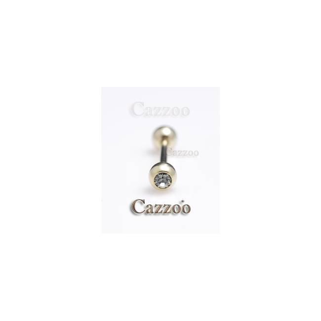 ZP4 Zircon guld tungepiercing 14mm