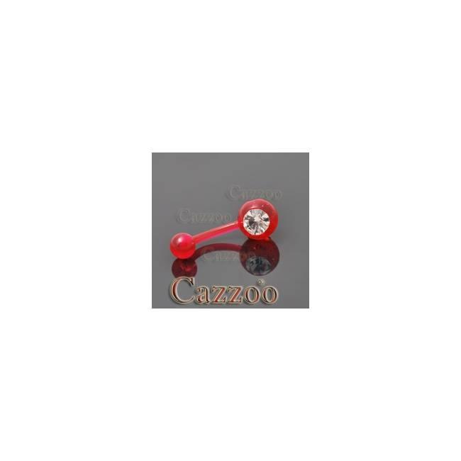 NPF840 Rød top og bundkugle med klar sten navlepiercing