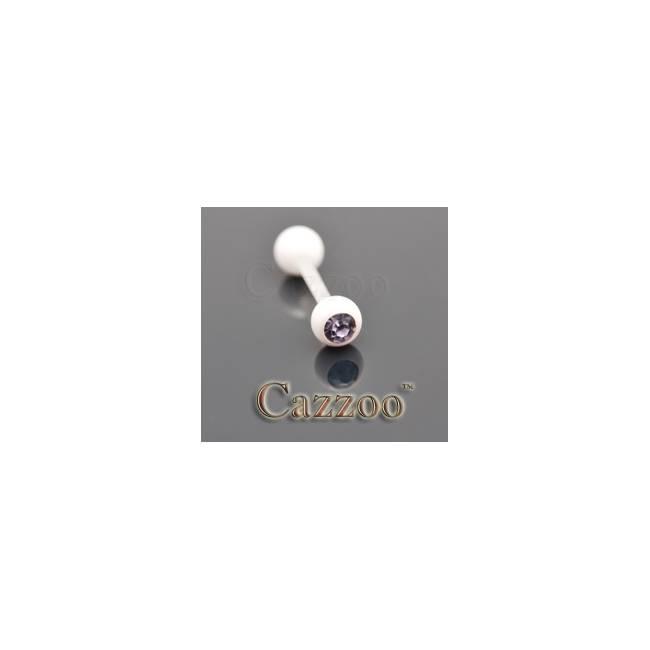TP229 Hvide flexibel tungepiercing med sten