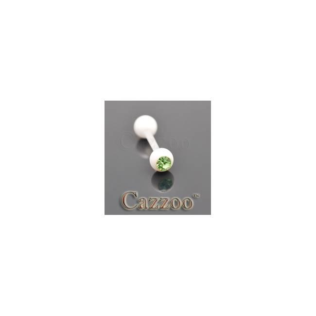 TP230 Hvide flexibel tungepiercing med sten