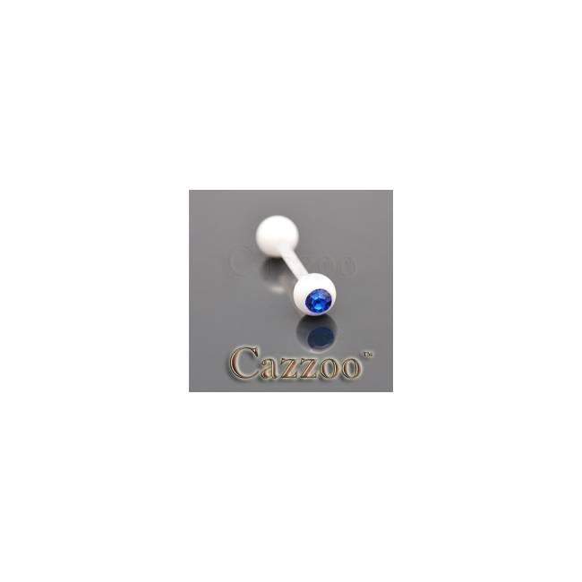 TP231 Hvide flexibel tungepiercing med sten