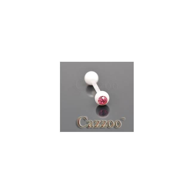 TP232 Hvide flexibel tungepiercing med sten
