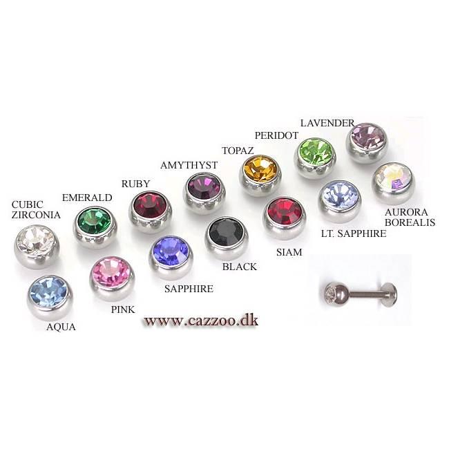 LAB4-3mm Labret piercing med 3mm sten