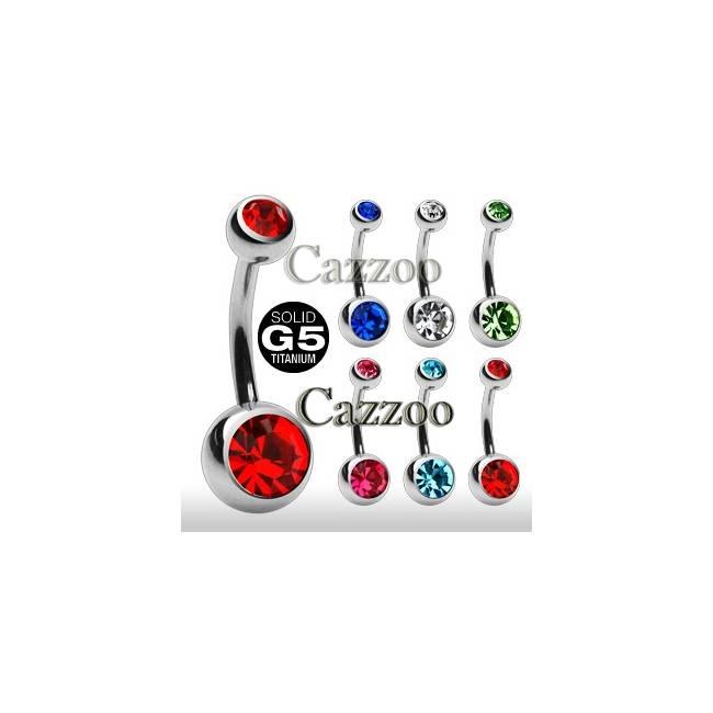 TIT-NP-1007 Titanium Navle piercing med dobbeltsten