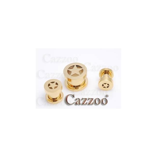 PL94 Forgyldt 14k screw on Plug 6-12mm