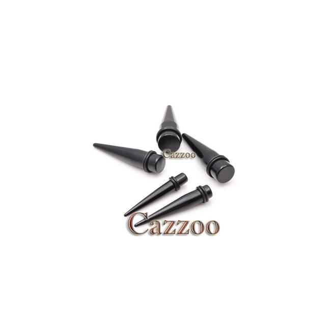 TAP28 sort acrylic tapers stretch smykker 10 til 20mm