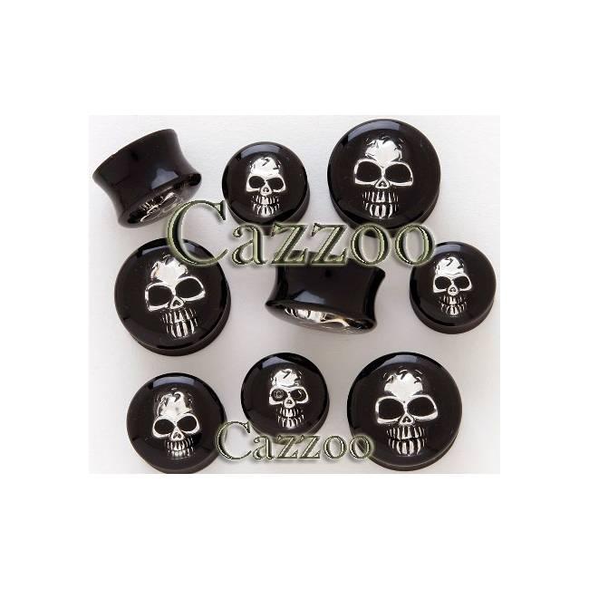 PL120 Sort Acrylic Plug med skull