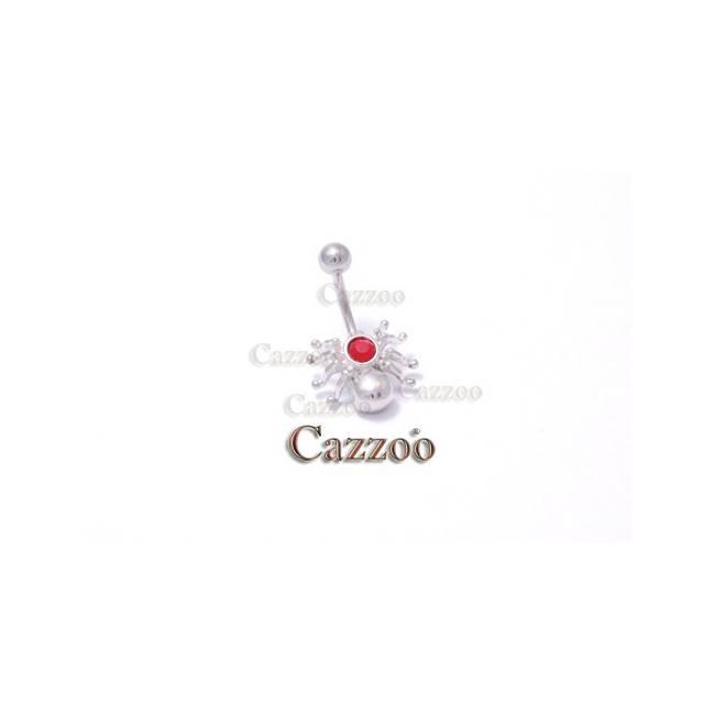NP978 navlepiercing med sød lille edderkop med lys rød sten