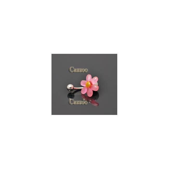 NP813 navlepiercing med pink blomst