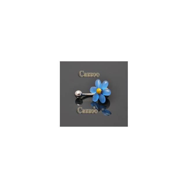 NP814 navlepiercing med blå blomst