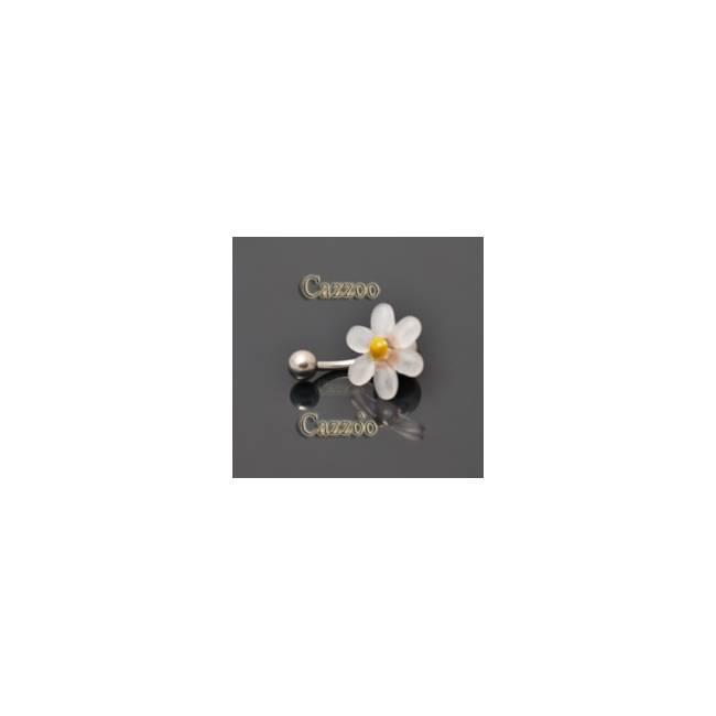 NP815 navlepiercing med klar blomst
