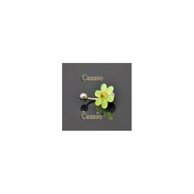 NP816 navlepiercing med neon grøn blomst