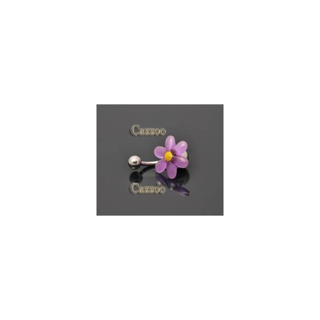 NP817 navlepiercing med lilla blomst