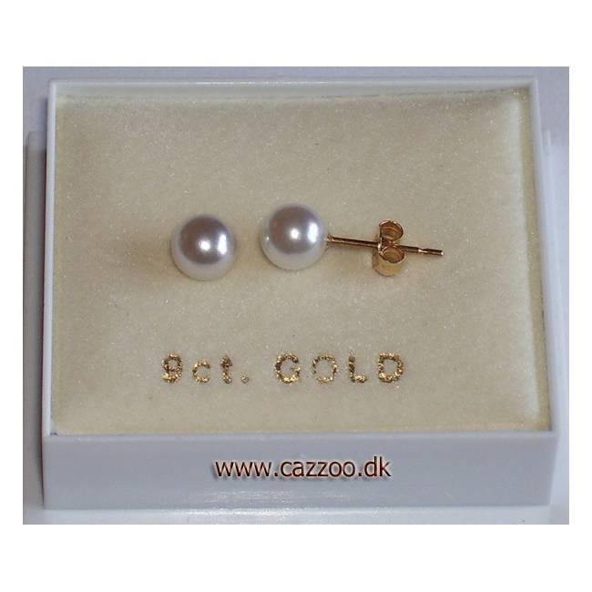 GE5-5mm 9kt guld ørestikker med perle