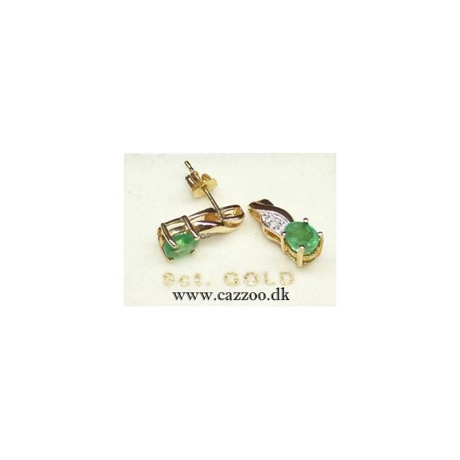 GE501-1 9 kt Guld ørestikker med diamanter og smaragd