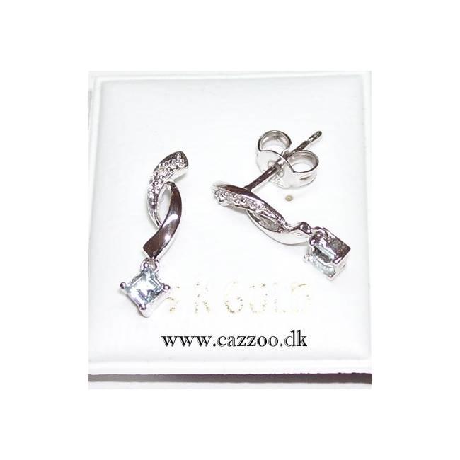 GEJ054-1 9kt hvidguld ørestikker med diamanter