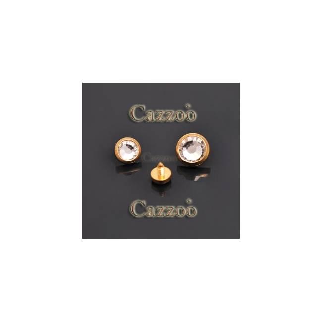 DM74 guldfarvet dermal piercing top med klar sten
