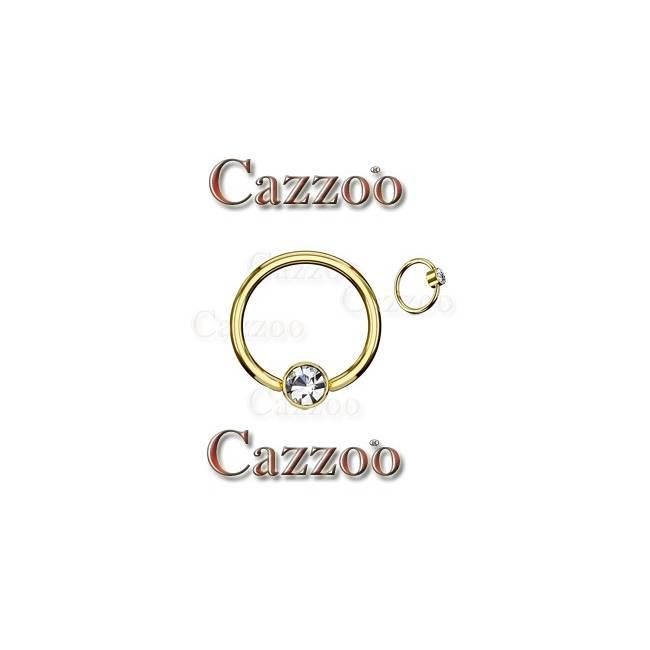 Guldfarvet Captive ring med flad cylinder og klar sten