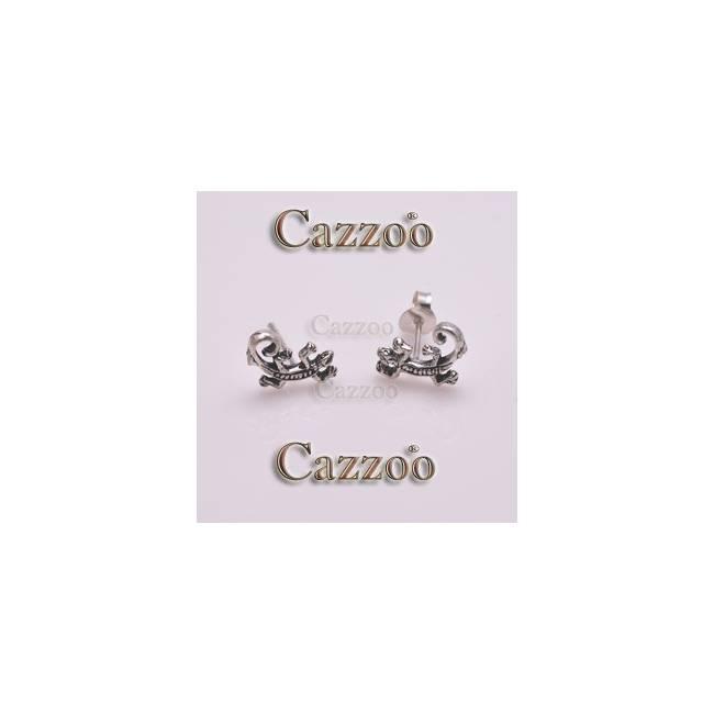sølv ørestikker sjov firben krølle halen øreringe