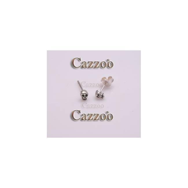 sølv ørestikker med dødningehoved øreringe