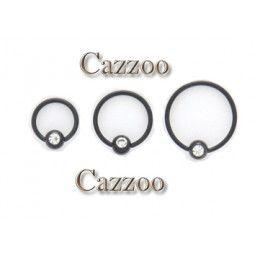 CB103 sort captive piercing ring med sten