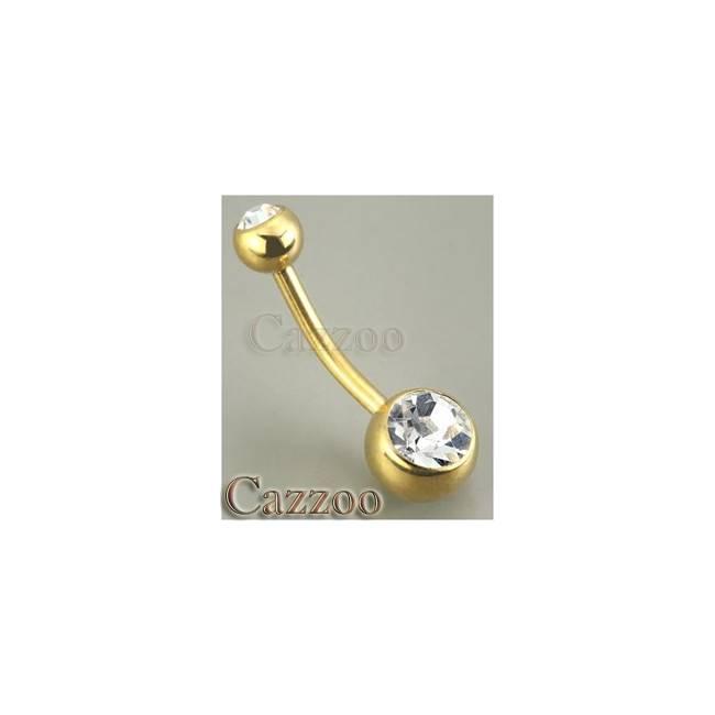 NP4 guld farve dobbeltsten navle piercing