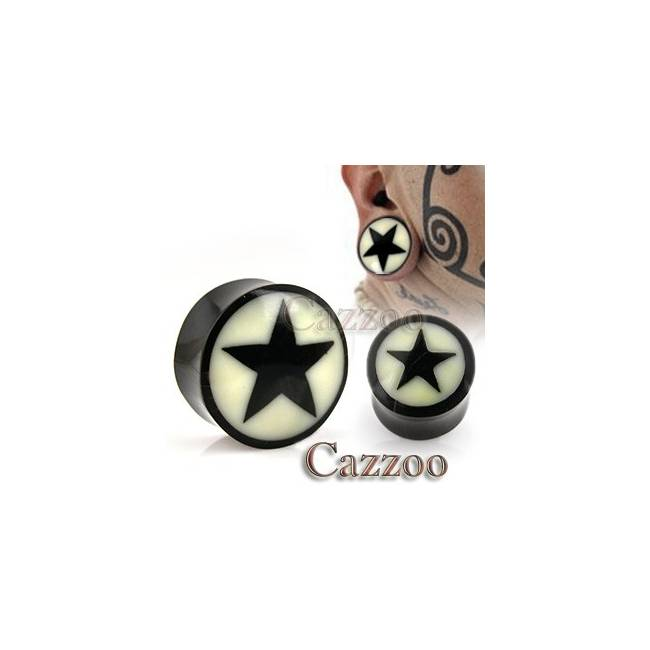 PL1 Natural Horn massiv Saddle Plug Bone Star Inlay
