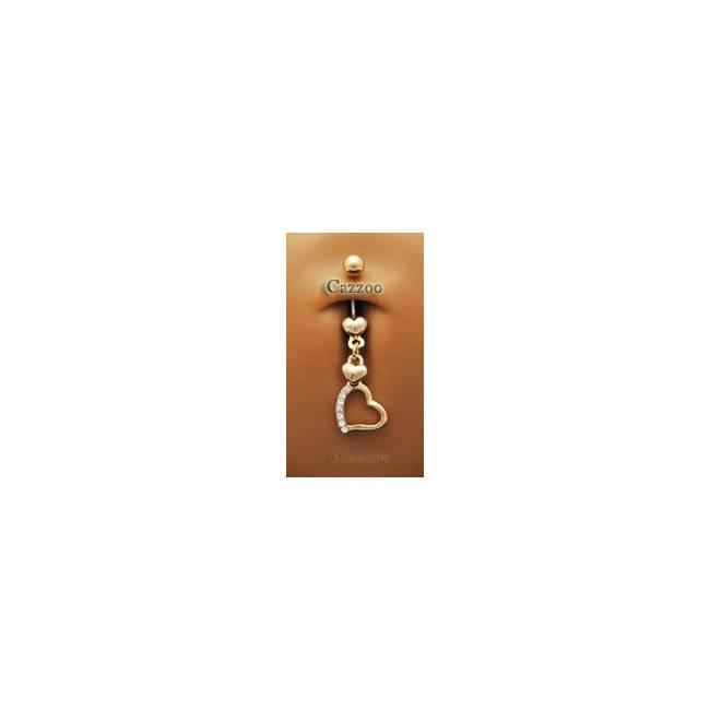 NP502 14 karat forgyldt navle piercing med vedhæng
